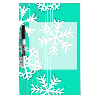 モダンなターコイズのホワイトクリスマスの白の雪片 ホワイトボード