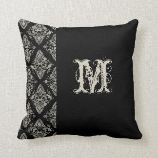 モダンなダマスク織の手塗りのモノグラムのな装飾 クッション