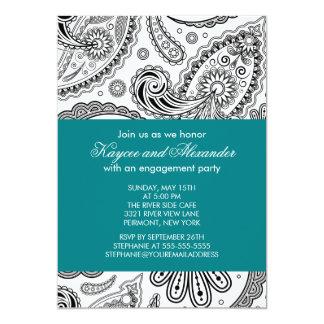 モダンなティール(緑がかった色)のペイズリーの婚約パーティの招待状 12.7 X 17.8 インビテーションカード