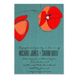 モダンなティール(緑がかった色)の花の婚約パーティの招待状 8.9 X 12.7 インビテーションカード