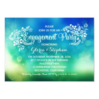モダンなティール(緑がかった色)の青い花の婚約パーティ カード