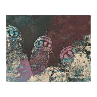 モダンなデジタルグラフィックアートのピンクタワーデザイン ウッドウォールアート