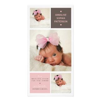 モダンなトリオの写真の女の赤ちゃんの誕生の発表 フォトグリーティングカード