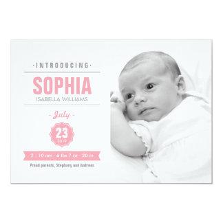 モダンなニュースのピンクの赤ん坊の誕生の写真の発表 12.7 X 17.8 インビテーションカード