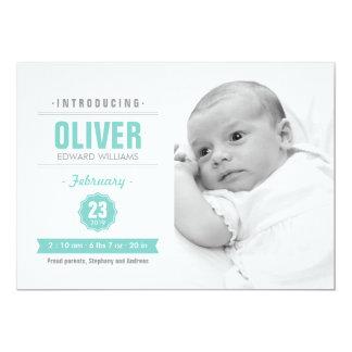 モダンなニュースのミントの赤ん坊の誕生の写真の発表 カード