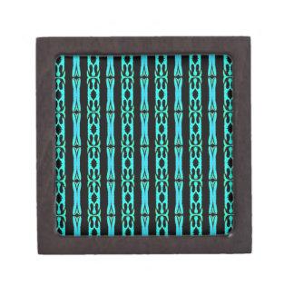 モダンなネオンアクアマリンのティール(緑がかった色)の背景パターン ギフトボックス
