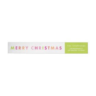 モダンなネオンメリークリスマスの覆いのラベル ラップアラウンドラベル