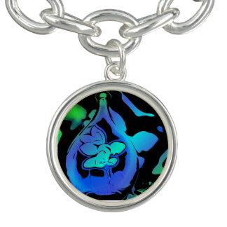 モダンなネオン青緑の抽象芸術の花の茎のつぼ ブレス