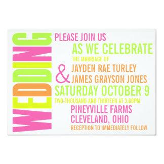 モダンなネオンBrightsのブロックプリントの結婚式招待状 カード