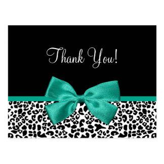 モダンなヒョウのエメラルドグリーンのリボンありがとう ポストカード