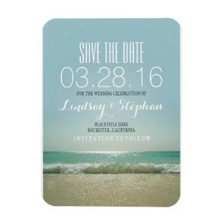 モダンなビーチ結婚式の保存日付 マグネット