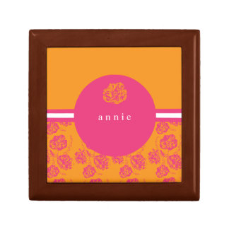 モダンなピンクおよびオレンジ植物 ギフトボックス