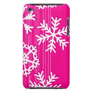 モダンなピンクおよびホワイトクリスマスの雪片 Case-Mate iPod TOUCH ケース