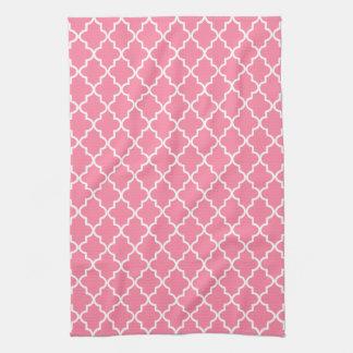 モダンなピンクおよび白いモロッコのクローバー お手拭タオル