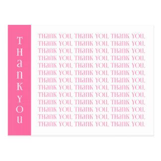 モダンなピンクおよび白い単語ありがとう ポストカード