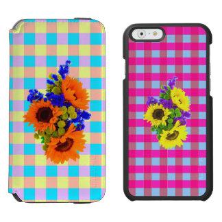 モダンなピンクのティール(緑がかった色)のチェック模様のヒマワリパターン INCIPIO WATSON™ iPhone 6 財布ケース