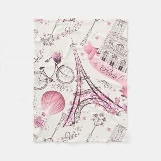 モダンなピンクのパリエッフェル塔のフリースブランケット フリースブランケット