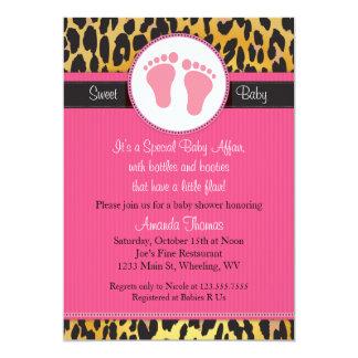 モダンなピンクのヒョウのプリントのベビーシャワーの招待状 カード
