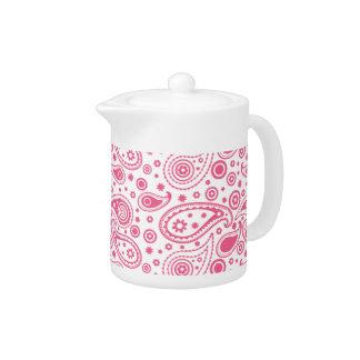 モダンなピンクのペイズリーの茶ポット