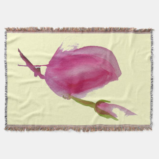 モダンなピンクのマグノリアの水彩画の花の芸術 スローブランケット