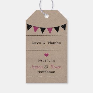 モダンなピンクの旗布の結婚式のコレクション ギフトタグ