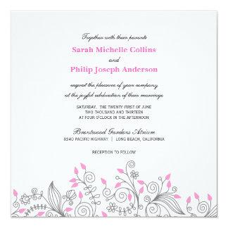 モダンなピンクの灰色の花柄の渦巻の結婚式招待状 カード