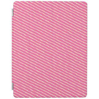 モダンなピンクの白のストライプのiPad 2/3/4カバーカバー iPadスマートカバー