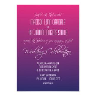 モダンなピンクの紫色の勾配の結婚式招待状 11.4 X 15.9 インビテーションカード