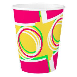 モダンなピンクの黄色いパターン4Delbia 紙コップ