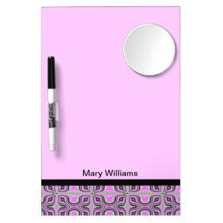 モダンなピンクパターンデザイン ミラー付きホワイトボード