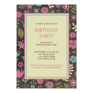 モダンなピンク及び青い花の誕生会 カード