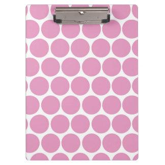 モダンなピンク、白い水玉模様 クリップボード