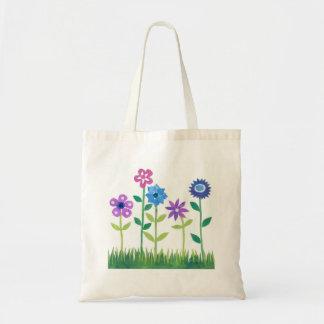 モダンなピンク、青、藤色の花のデザイン トートバッグ