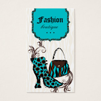 モダンなファッションのハンドバッグのブーツのヒョウのシマウマの青 名刺