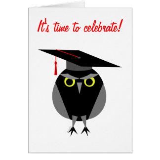 モダンなフクロウの卒業のパーティの招待状 カード