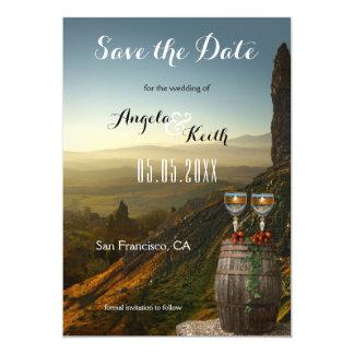 モダンなブドウ園またはワインのテーマの保存日付カード カード