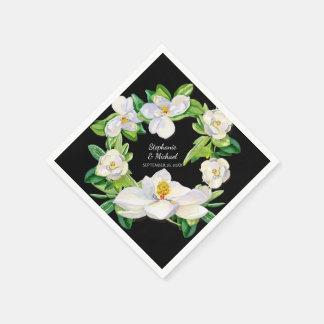 モダンなブライダルシャワーのマグノリアの花のリースの芸術 スタンダードカクテルナプキン