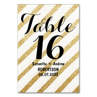 モダンなブラシストローク金ゴールドのストライプなテーブル数