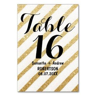 モダンなブラシストローク金ゴールドのストライプなテーブル数 カード