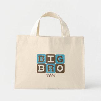モダンなブロック大きいBro -名前入りな青及びブラウン ミニトートバッグ