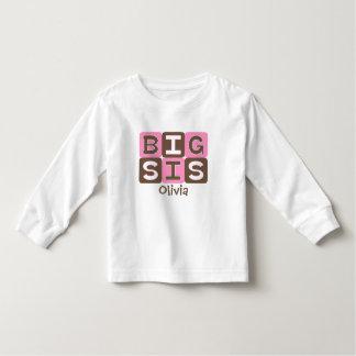 モダンなブロック大きいSis -名前入りなピンク及びブラウン トドラーTシャツ
