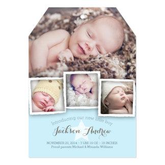 モダンなベビーの甘い男の赤ちゃんの誕生の発表 カード
