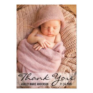 モダンなベビーの誕生の写真カードありがとう カード