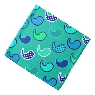 モダンなペイズリーのパターン、ターコイズ、青および水 バンダナ