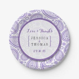 モダンなペイズリーの結婚式のコレクション-紫色 ペーパープレート