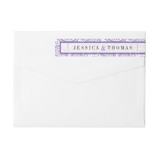 モダンなペイズリーの結婚式のコレクション-紫色 ラップアラウンドラベル