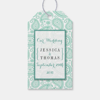モダンなペイズリーの結婚式のコレクション-緑 ギフトタグパック