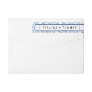 モダンなペイズリーの結婚式のコレクション-青 ラップアラウンド返信用宛名ラベル