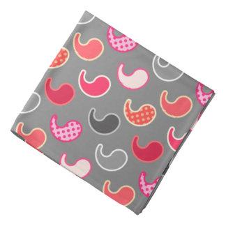 モダンなペイズリーパターン、灰色/灰色でピンク珊瑚 バンダナ