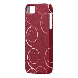 モダンなマゼンタおよびブラウンのリングパターン iPhone SE/5/5s ケース